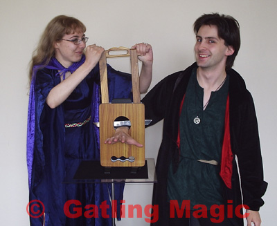 Costro and Eleri with a small guillotine