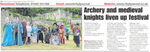 "Article from the Rhyl Journal titled ""Archery and medieval knights liven up festival"""