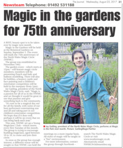"Article from the Rhyl Journal titled ""Magic in the gardens for 75th anniversary"""