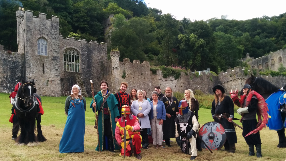 Mayor and performers in front of Gwrych Castle, Abergele