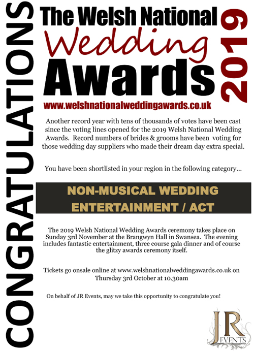 Welsh National Wedding Awards 2019 - shortlisted in non-musical wedding entertainment/act