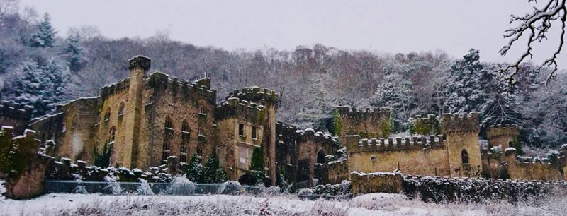 Gwrych Castle in snow