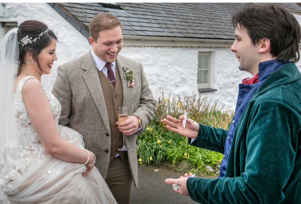 Jay performing to a North Wales bride and groom.