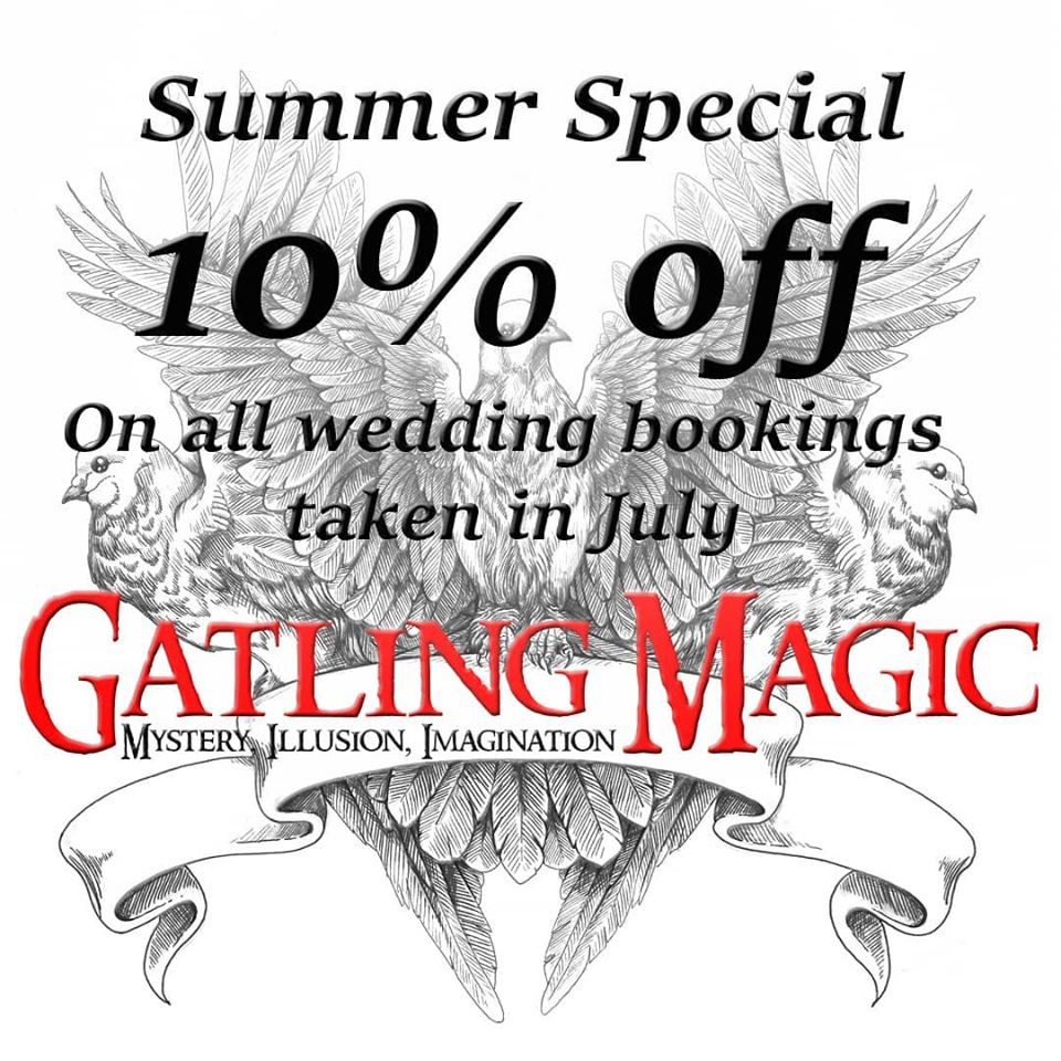 Summer special. 10% off on all wedding bookings taken in July