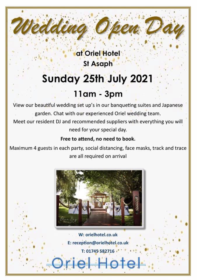 Oriel Hotel Wedding Open Day, Saturday 25th July 11am to 3pm