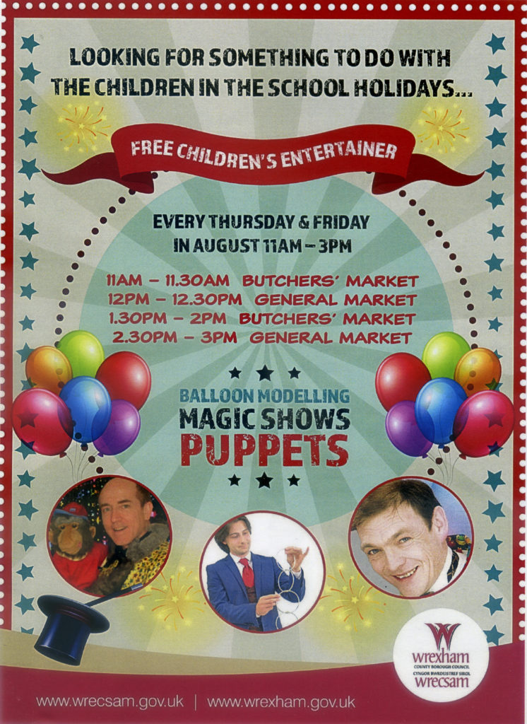 Free children's entertainment in Wrexham markets