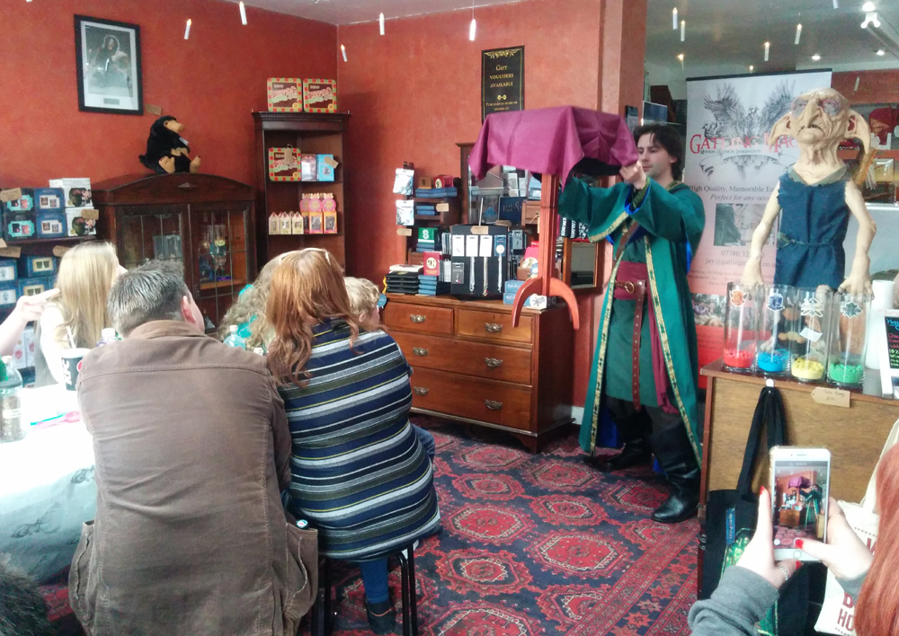 wizard performing at a harry potter evening in llandudno